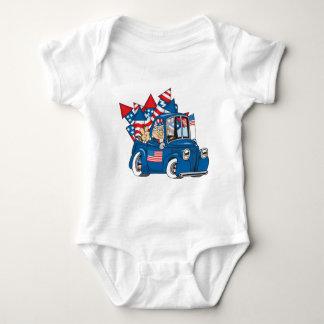 4. von Juli-Uncle Sam Im Lieferwagen Baby Strampler