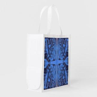 4 Zahlen abstrakt im Blau Wiederverwendbare Einkaufstasche