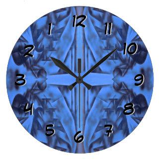 4 Zahlen Blau - drehen Sie zurück die Zeit Große Wanduhr