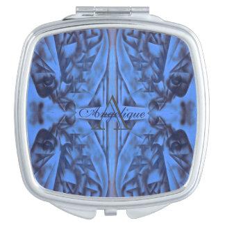 4 Zahlen im blauen Monogramm Taschenspiegel
