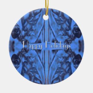 4 Zahlen in blauer Feiertags-Mitteilung w Ihr Text Rundes Keramik Ornament