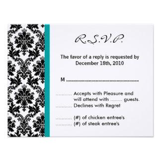 4x5 R S V P Antwort-Karte - schwarzer Damast Ankündigungen