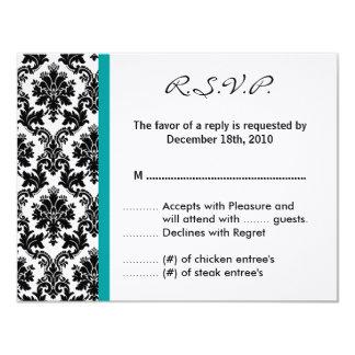 4x5 R.S.V.P. Antwort-Karte - schwarzer Damast Ankündigungen