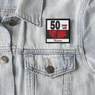50 50. Geburtstag des Jährig-Party-Tier-| Quadratischer Button 5,1 Cm