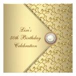 50. der Geburtstags-Party der Goldperlen-Frau Personalisierte Ankündigungskarten