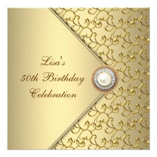 50 der Geburtstags-Party der Goldperlen-Frau Personalisierte Ankündigungskarten