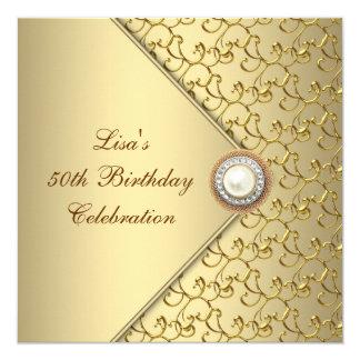 50. der Geburtstags-Party der Goldperlen-Frau Quadratische 13,3 Cm Einladungskarte