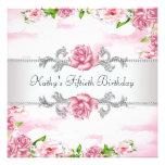 50. der Geburtstags-Party der rosa Rosen-Frau Personalisierte Ankündigungskarte