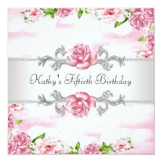 50. der Geburtstags-Party der rosa Rosen-Frau Quadratische 13,3 Cm Einladungskarte