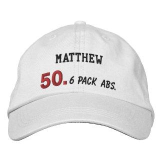50. Geburtstag 6 Satz-ABS WEISSES und ROTES V03 Bestickte Baseballkappe