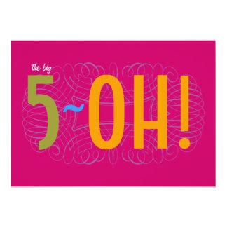 50. Geburtstag - das große 5-OH! 12,7 X 17,8 Cm Einladungskarte