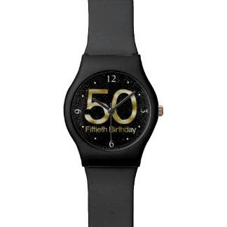 50. Geburtstag, eleganter schwarzer Goldzauber Uhr