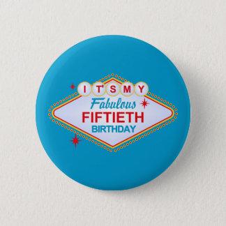 50. Geburtstag Las Vegass Runder Button 5,1 Cm