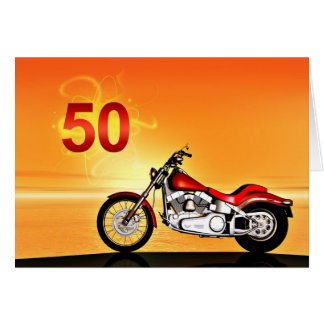 50. Geburtstag Motorradsonnenuntergang Karte
