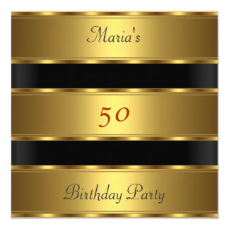 50. Geburtstag Party-Goldschwarzes Quadratische 13,3 Cm Einladungskarte