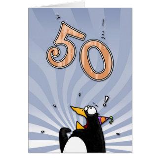 50. Geburtstag - Pinguin-Überraschungs-Karte