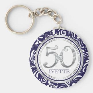 50. Geburtstag Schlüsselc$kette-marine Blau u. Schlüsselanhänger