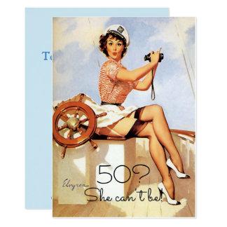 50. Geburtstag, Vintages, sexy Button herauf 12,7 X 17,8 Cm Einladungskarte
