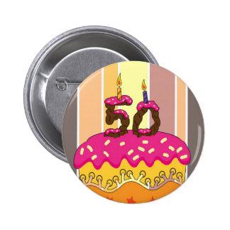 50. Geburtstags-Button-Abzeichen, zum der Gruß-Kar Runder Button 5,1 Cm