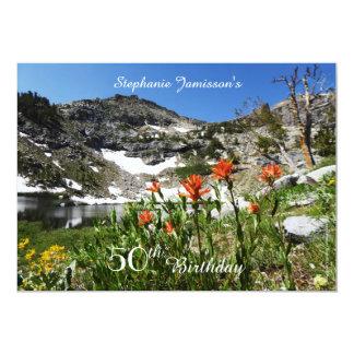 50. Geburtstags-Einladung, Berge, Wildblumen 12,7 X 17,8 Cm Einladungskarte