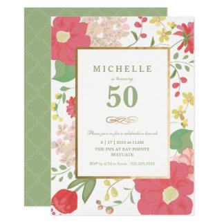 50. Geburtstags-Einladung - Gold, elegante Blumen 11,4 X 15,9 Cm Einladungskarte