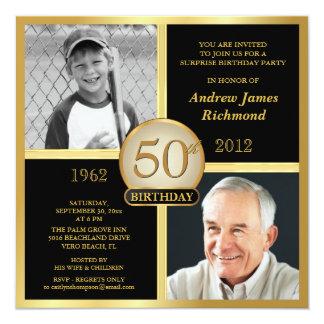 50. Geburtstags-Einladungen dann u. jetzt 2 Fotos Quadratische 13,3 Cm Einladungskarte