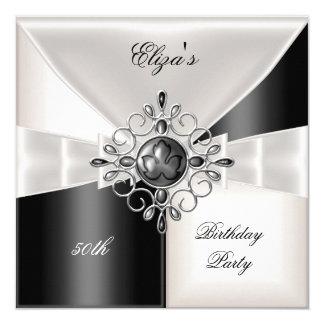 50. Geburtstags-elegantes Schwarz-weißes Quadratische 13,3 Cm Einladungskarte