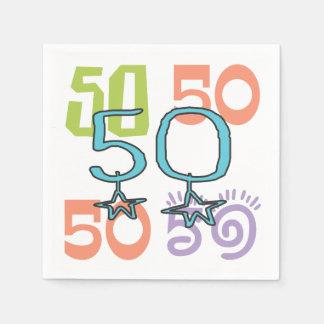 50. Geburtstags-flippige bunte Papierservietten