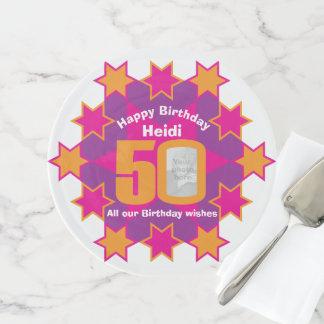 50. Geburtstags-Fotonamensternrosa-Kuchenstand Tortenplatte