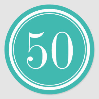 50. Geburtstags-Gastgeschenkaufkleber u. -Umschlag Runder Aufkleber