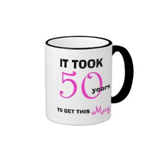50. Geburtstags-Geschenk-Ideen für die Ringer Tasse