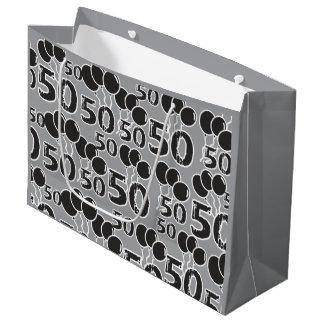 50. Geburtstags-graues Schwarzes Große Geschenktüte