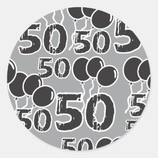 50. Geburtstags-graues Schwarzes Runder Aufkleber