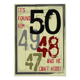 50. Geburtstags-Grungy Count-down-Party Einladung 12,7 X 17,8 Cm Einladungskarte