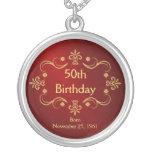 50. Geburtstags-Halskette - Vintager Rahmen-Anhäng