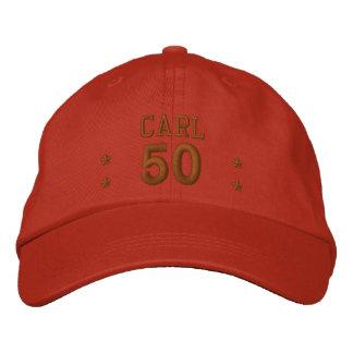 50 Geburtstags-individueller Name KAKAO V66C Bestickte Baseballkappe