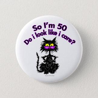 50. Geburtstags-Katzen-Geschenke Runder Button 5,1 Cm