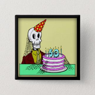 50. Geburtstags-Knopf Quadratischer Button 5,1 Cm