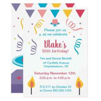 50. Geburtstags-Kuchen laden ein Karte
