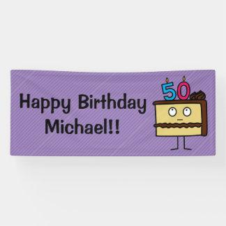 50. Geburtstags-Kuchen mit Kerzen Banner