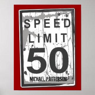 50. Geburtstags-lustiges Grungy Höchstgeschwindigk Poster