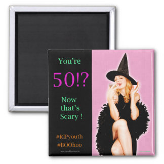 50. Geburtstags-Magnet Retro Button-oben Quadratischer Magnet