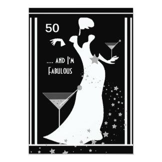 50. Geburtstags-Party-Diva-Kunst-Deko Schwarz-weiß 12,7 X 17,8 Cm Einladungskarte