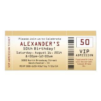 50. Geburtstags-Party Einladungs-Goldtone Karte 10,2 X 23,5 Cm Einladungskarte