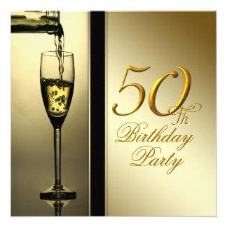 50. Geburtstags-Party elegantes Goldchampagne Personalisierte Ankündigungskarte