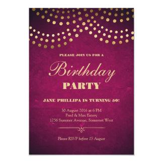 50. Geburtstags-Party - Goldschnur-Lichter Karte