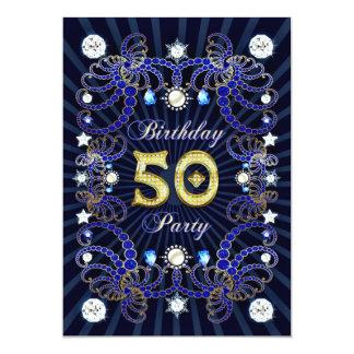 50. Geburtstags-Party laden mit Massen der Juwelen 12,7 X 17,8 Cm Einladungskarte