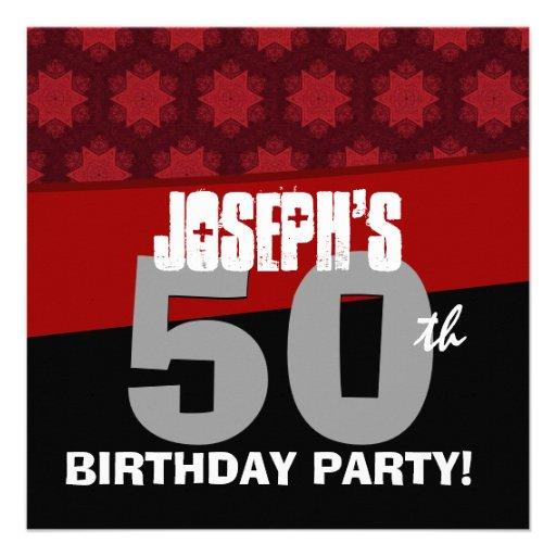 50. Geburtstags-Party-Rot hat schwarzes Silber Personalisierte Einladungskarten