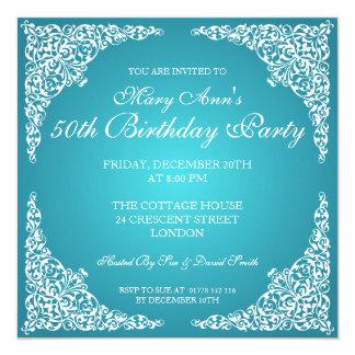 50. Geburtstags-Party-Vintager Wirbels-Türkis Quadratische 13,3 Cm Einladungskarte