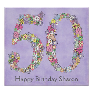 50. Geburtstags-Party-Zahl-Fahnen-Plakat (groß) Poster